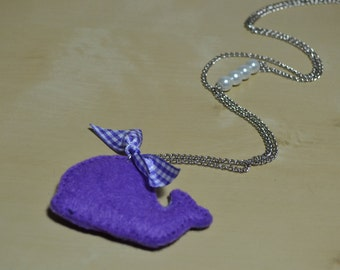Felt Necklace, Necklace with Purple Whale with Chain and Pearls!!!