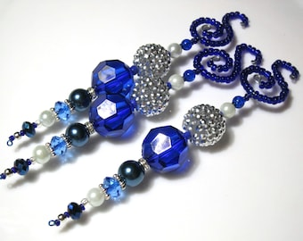 Beaded Christmas Icicle Ornaments with Chunky Navy Faceted and Silver Bling Beads and Pearls - 3 Elegant Christmas Tree Decorations