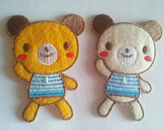 Teddy Bear in Yellow or Beige Cream iron on patch