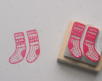 Socks Stamp. Christmas stamp. hand carved stamp. rubber stamp. mounted