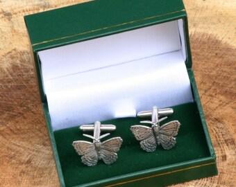 Butterfly Cufflinks Pewter UK Handmade Gift