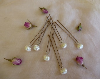 Freshwater pearl hairpins, for bridal or prom. set of 6 hairpins