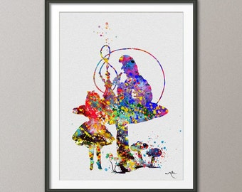 Alice in Wonderland and Caterpillar Watercolor Print Kids Wall Art Nursery Fairy Tale Princess Wall Art Home Decor Wall Hanging [No 103]