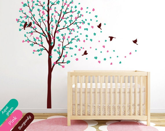 Tree wall decals baby nursery wall mural sticker kids nursery for Cherry blossom tree wall mural