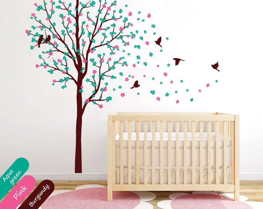 Tree wall decals baby nursery wall mural sticker kids nursery for Baby room tree mural