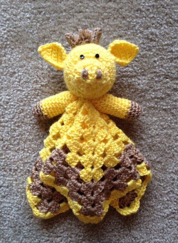 Crochet Pattern Giraffe Blanket : Items similar to Crochet Giraffe Security blanket on Etsy