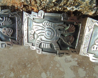 Vintage Mexican Sterling Silver Bracelet Featuring a Pre Columbian Design