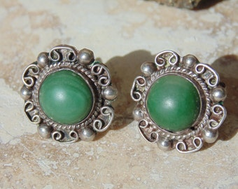 Mexico Silver ~ Vintage Green Screw Back Earrings