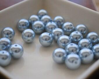 Czech pearl powder blue round 15mm large glass pearl Czech pearl blue