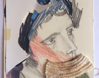 Collage with knitting