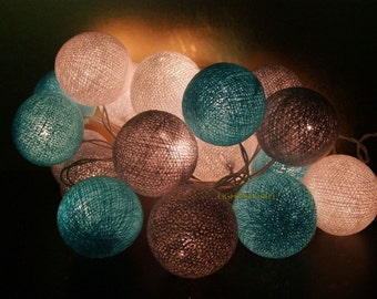 Mixed 20 Gray white Paleblue cotton ball string lights for Patio,Wedding,Party