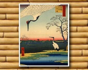 Cranes Bird Art Japanese Decor Vintage Dragon Print Asian Poster (J79)