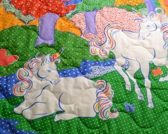 Baby Quilt White Horses Rainbow Baby Bedding