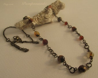 2624- Necklace,Opal, Tiger Eye and Coral