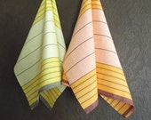 Yellow & Red Striped Tea Towels - Linen Tea Towel - Kitchen towels -Dish Towel - Set of 2