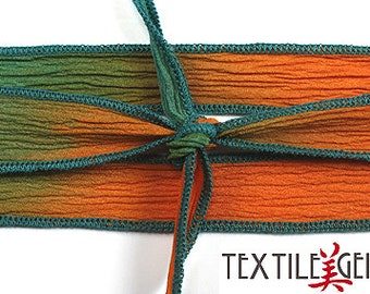 "SILK RIBBON TIES: 1/2""x36"" Handmade and Hand-dyed Silk Ribbon Ties for Necklaces, Wrap Bracelets & Embellishments"