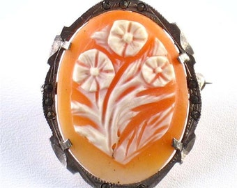 Vintage Carved Shell Flower Cameo Silver Pendant Brooch