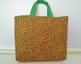 Sunflower Cotton Tote Bag, Handmade Tote Bag, Gift Bag, Lunch Bag, Bags and Purses, Lined Tote Bag, Shopping Bag, Hand Bag, Book Bag