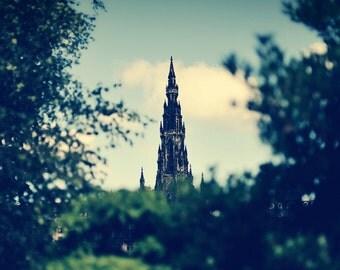 Edinburgh II, original fine art photography, print, urban landscape, 8x8, square, scotland, tower, scott monument, trees, leaves, modern