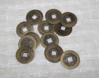 Chinese Replica Coins,Brass Asian Coins, Decorative Embellishment for Wearable Art