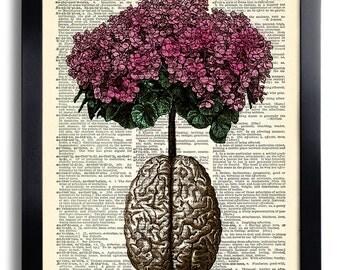 Brain Human Anatomy Flowers Dictionary Art Print, Anatomical Brain, Anatomy Brain Poster, Vintage Human Brain Wall Decor, Gift for Man 029
