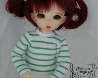 YoSD LittleFee BJD Green and White Striped shirt