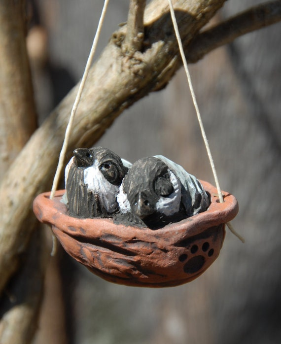 baby chickadee nest ornament