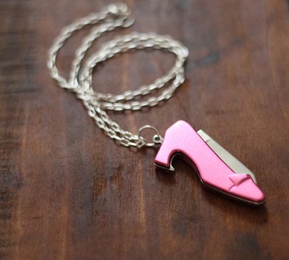 pink metallic high heel shoe pocket knife bottle by contrary. Black Bedroom Furniture Sets. Home Design Ideas