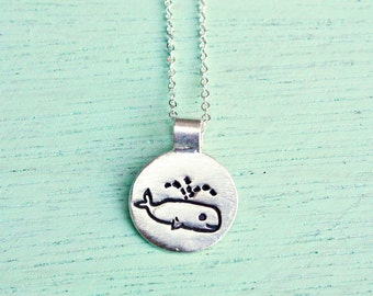 Tiny WHALE NECKLACE, sterling silver whale charm necklace, tiny necklace for girlfriend, whale jewelry, girls whale necklace, girls necklace