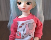 BJD Separates - Pink Elephant Raglan for YoSD