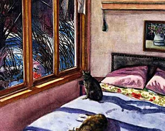 Sunny Interior Pink Bedroom Windows Bed Cats Napping Print Matted to 11x14 Watercolor Belinda DelPesco
