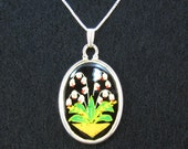 Lily Of The Valley Necklace pysanky design ostrich egg shell and sterling silver jewelry