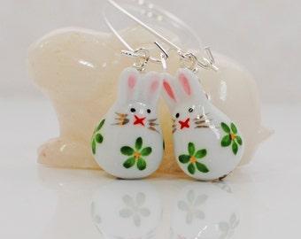White Rabbit Earrings Green Bunny Kisses