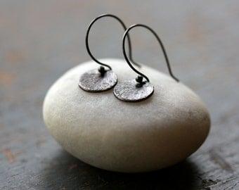 Blackened Silver Mini Earrings, Sweet Silver Earrings, Silver Circle Drops, Sterling Silver, Oxidized Black, Petite Earrings, Everyday Style