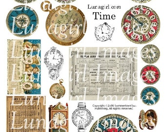 TIME digital collage sheet CLOCKS watches steampunk altered art vintage images ephemera calendars printables DOWNLOAD