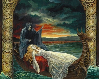 Death Tarot Art 8x10 Fine Art Print Pagan Mythology Celtic Symbolism Surreal Goddess Art