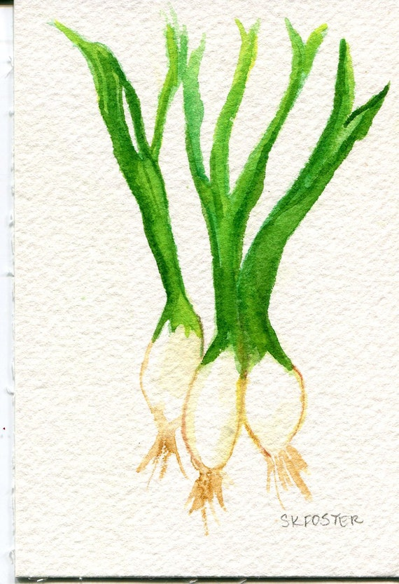 Green Onions Original Watercolor Painting, Small Vegetable Painting, Kitchen Wall Art, 4 x 6, original painting