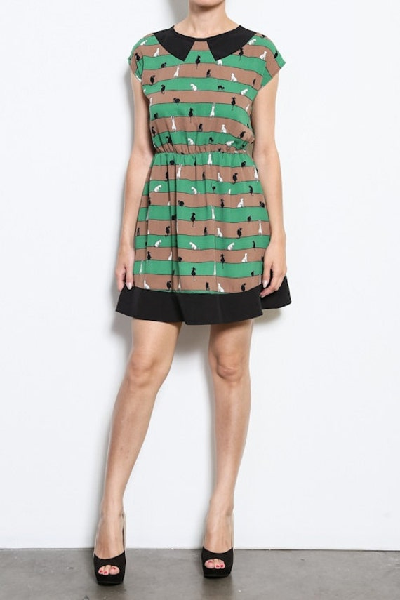 Green Cat Dress Retro Style Clothing Womens By Moxiemadness