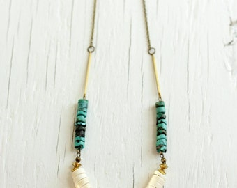 Turquoise and Wood Necklace with Brass Bars, Boho Necklace