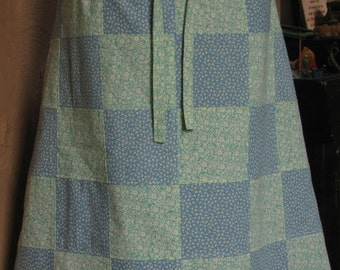 Clearance Blue and Green Hippie Patchwork Skirt with Lace Trim Pockets Cream Flowers Drawstring