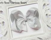 Silver Metallic Boutique Hair Bow, small, medium, large, extra large boutque bow, metallic hair bow, gold bow, silver bow