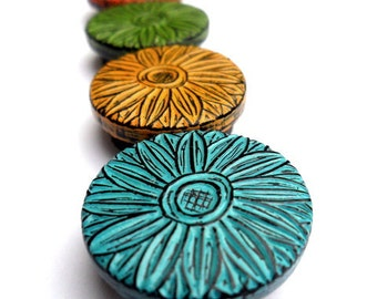 Orange, Mustard Yellow, Green and Blue Daisy Crazy Magnet Set