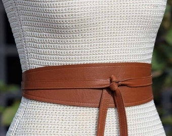REVERSIBLE Black and Brown 2 sides of Leather Sash - Obi Wrap Belt - lambskin - custom made - XS S M L XL - 3 inch wide tapered shape