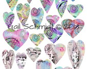 INSTANT DOWNLOAD DIGITAL Collage Sheet Funky Hearts  U Print