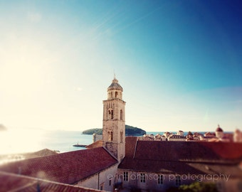 dubrovnik croatia, landscape photography, travel, blue decor, blue wall art, adriatic sea,architecture, View to the Sea D16