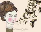 """Victorian moth girl art print, """"Moth Speak"""""""