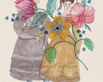 """Victorian flower girls art print, """"Indienne"""""""