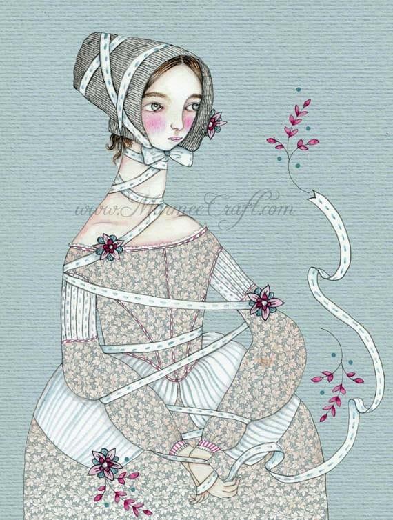 "Victorian bonnet girl art print, ""Entwined"""