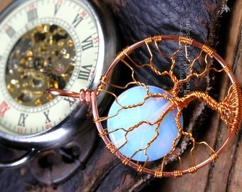 Steampunk Copper Tree of Life Pendant Opalite Rainbow Moonstone Full Moon Wire Wrapped Jewelry Cogs Gears Clockwork Gothic Style Necklace