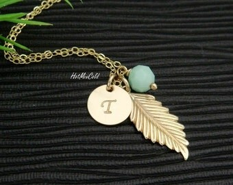Personalized Initial Birthstone Leaf Charm Necklace / GOLD Fill Feather Necklace / Bridesmaid Gifts, Birthstone and Monogram Charm Necklace